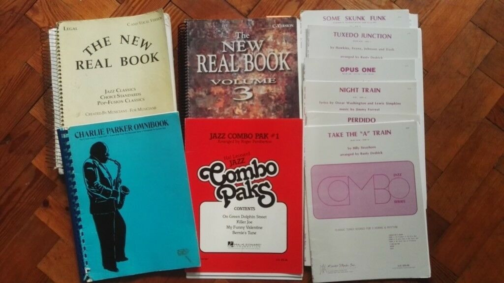 New Real Book #1 and #3, and a selection of charts and arrangements
