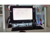 Desk top PC 64bit operating system , intel core quad, & clip in hard drive (extra) keyboard monitor