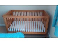 Arizona Cot Bed & mattress. Serves as a cot and converts to a small child's bed.