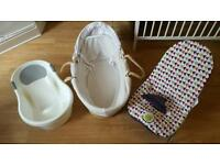 Baby bundle moses Basket, bath & bouncer chair.
