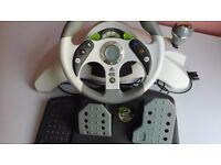 Xbox 360 mad cats 2 steering wheel & pedals