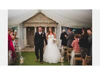 Stunning wedding dress and side headpiece