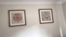 Set Of 3 Next Oak Framed Orange Wall Pictures
