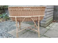 Lovely wicker basket on cane stand