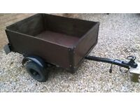 car trailer, 4' x 3', compact, easy handled, electrics, waterproof cover