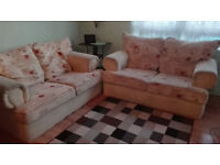 SOFAS,PAIR OF TWO SEATER SOFAS,FABRIC,LIGHT CREAM,FLORAL PATTERN,COMFORTABLE,REMOVABLE PILLOWS,GOOD