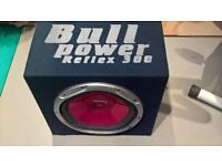 Sony XPLOD sub woofer 1200 watt Bull Power Reflex 300 in a carpeted and ported box