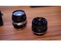 Two amazing prime lenses with micro four thirds adapter.