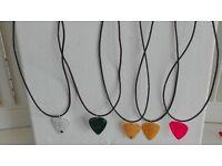 hand made guitar plectrum necklaces