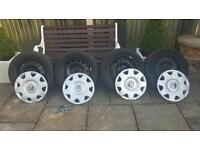 Vw caddy r16 dunlop tyres wheels and trims in mint condition. Only 7000 miles
