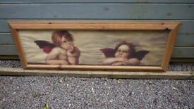 Angel / Cherubs Picture - Pine Frame - Large