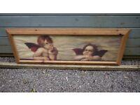 Angel / Cherubs Picture - Pine Frame - Large