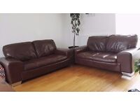 2x 2 Seater Brown Leather Sofa