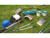 Job Lot Garden handtools and sundries, Lawnmower oil etc
