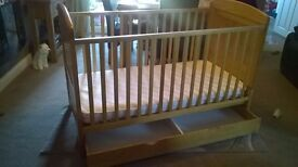 Winnie the Pooh baby cot with mattress and changing station with Winnie the Pooh changing mat.