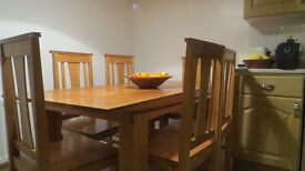 Solid Oak Dining Table and 6 chairs ...Warm light oak loved but downsizing forces sale