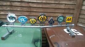 Vintage car badges mounted