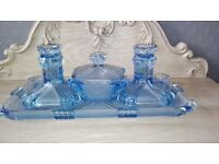 Vintage Art Deco Blue Glass Dressing Table Set