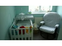 white mothercare cot with mattress 6 months old