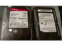 1TB sata hard drives. (Toshiba and Samsung) desktop types