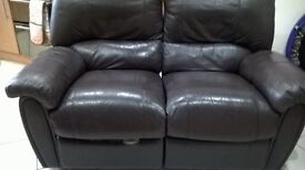 Leather Recliner 2 seater Brown