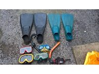 Diving equipment: fins, goggles & snorkels