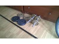 Weightlifing set dumbells and barbells