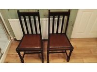 1920s Barley Twist Pair of Chairs. Set of two antique vintage chairs with original leather pads