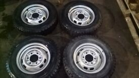 Nissan commercial 6 stud steel wheels and tyres - brand new - 185R 14""