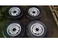 """Nissan commercial 6 stud steel wheels and tyres - brand new - 185R 14"""""""