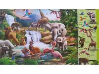 Jungle wall mural brand new in box 8ft x 10ft beautiful scene with tigers to flamingoss