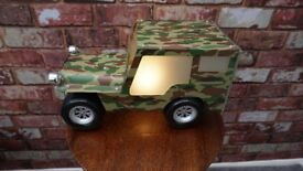 RETRO METAL GLASS LENS VINTAGE U.S. ARMY JEEP BEDSIDE LAMP 14 x 8 x 7 inches approx fully working