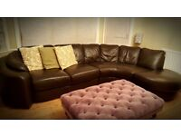 BROWN L SHAPED LEATHER SOFA