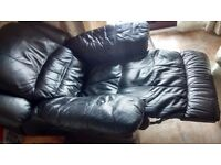 Black electric leather fully reclining chair in great condition.