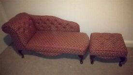 Handmade chaise Longue and footstool in immaculate condition