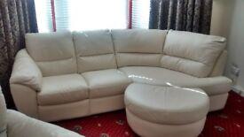 Cream Left Hand Corner Sofa with Rocking Chair