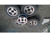 OLD MINI ALLOY WHEELS AND 10 IN TYRES 3 GOOD TYRES 5 GOOD RIMS