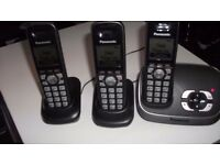 3 x panasonic cordless phones with answering machine