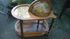Large Vintage Celestial Globe Drinks Trolley