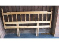 Pine bed head (bedhead) to fit either normal double bed or can be adjusted to fit a single bed
