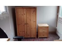 Solid Pine Wardrobe with Matching Solid Pine Nightstand