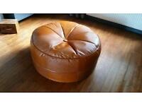 Leather pouffe footstool from sterling pumpkin style