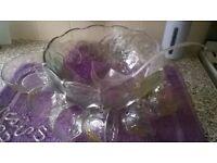 Large Punch Bowl & Glasses