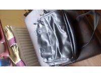 Laptop carry bag black leather with 3 zipped compartments - one of the compartment with 2 dividers