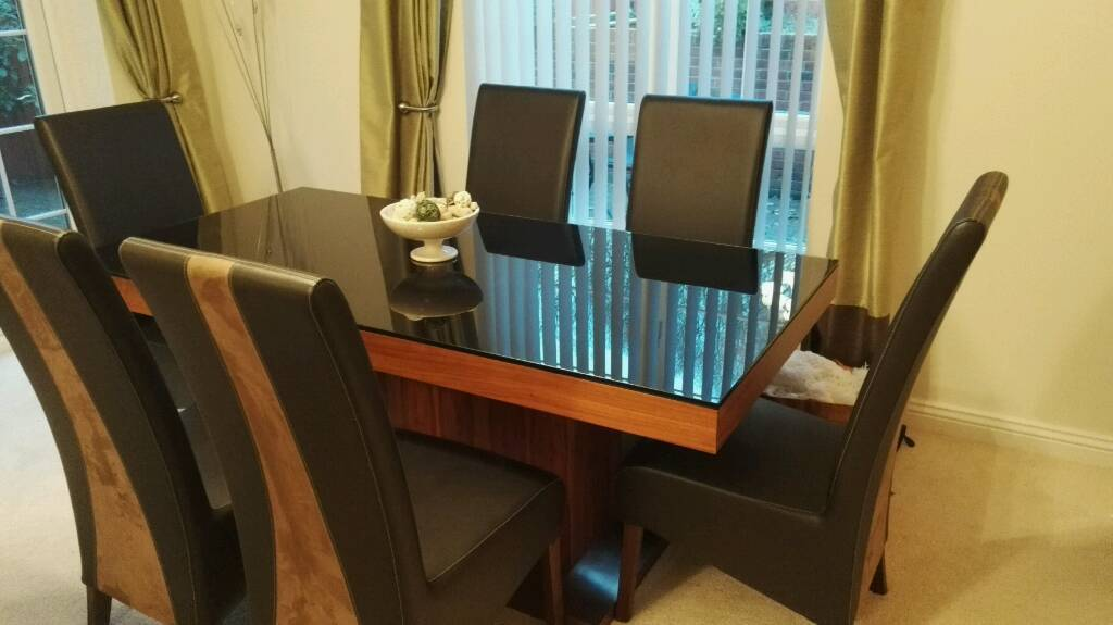 Glass Top Dining Table And 6 Chairs For Sale