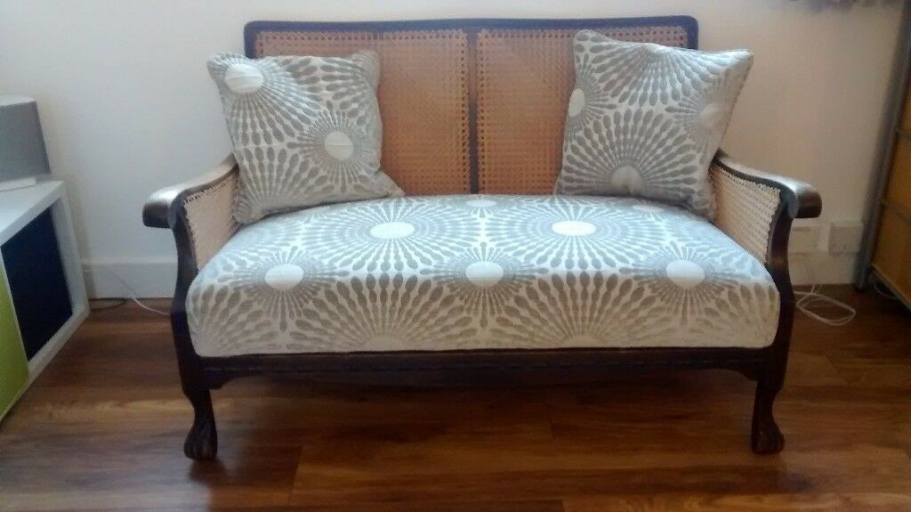 1930s two seat sofa, silver grey upholstery