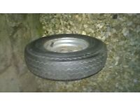 "car trailer spare wheel 8"" good wheel rim and tyre"