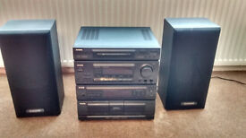 Stereo HiFi System Complete with Beech coloured cabinet