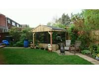 Wooden Garden pergola hot tub shelter 2.6 x 2.6m