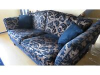 Large 3 piece suite ( 4 seater sofa+2 seater sofa and 1 chair)Blue. In excellent condition